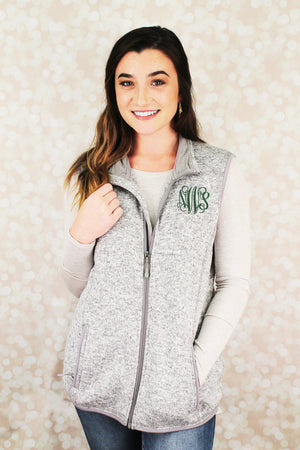 Charles River Women's Pacific Heathered Vest, Light Gray Heather *Personalize It