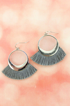 Gray Fringed Silvertone Crescent Fan Earrings