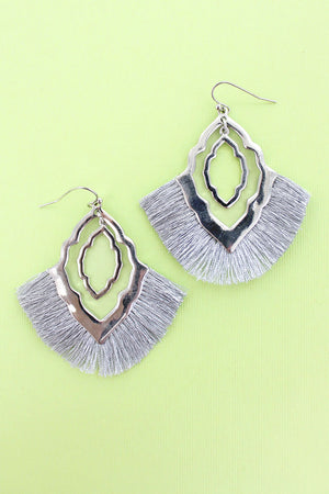 Silver Fringed Silvertone Moroccan Fan Earrings