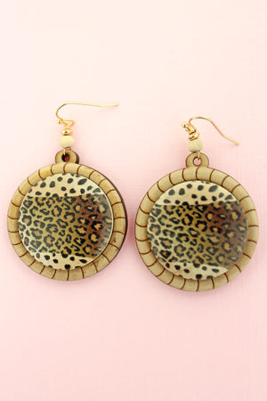 Wild Cat Stripe Wood Disk Earrings