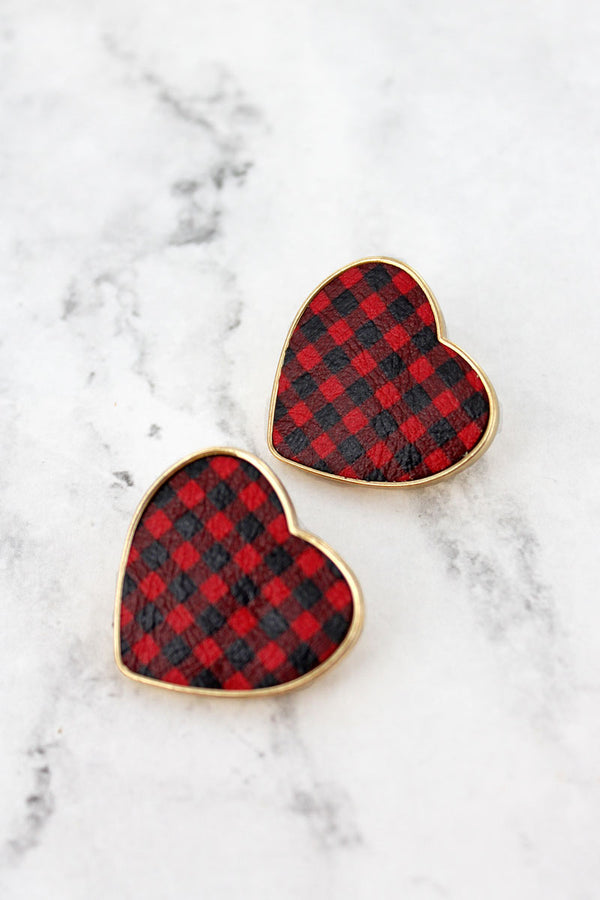 Goldtone Trimmed Red Buffalo Plaid Heart Earrings