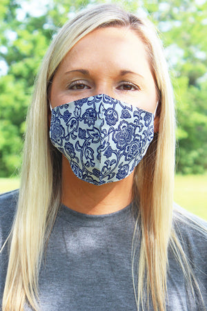 Blue Floral Sketch Two-Layer Fashion Face Mask