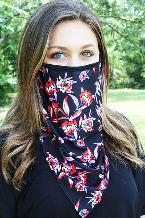 Southern Blooms Black Face Mask Neck Gaiter
