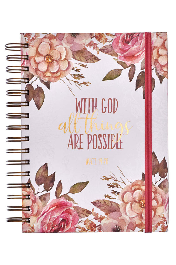 Matthew 19:26 'All Things' Large Wirebound with Elastic Journal