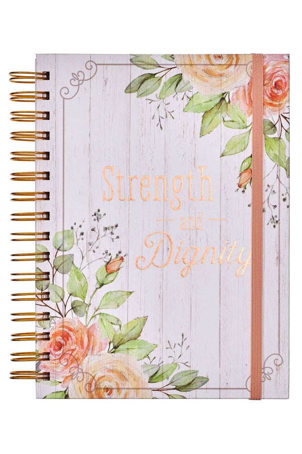 Strength and Dignity Large Wirebound with Elastic Journal