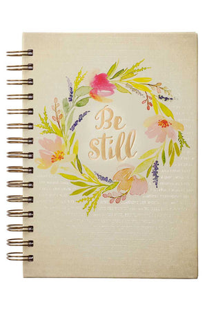Be Still Floral Watercolor Large Wirebound Journal