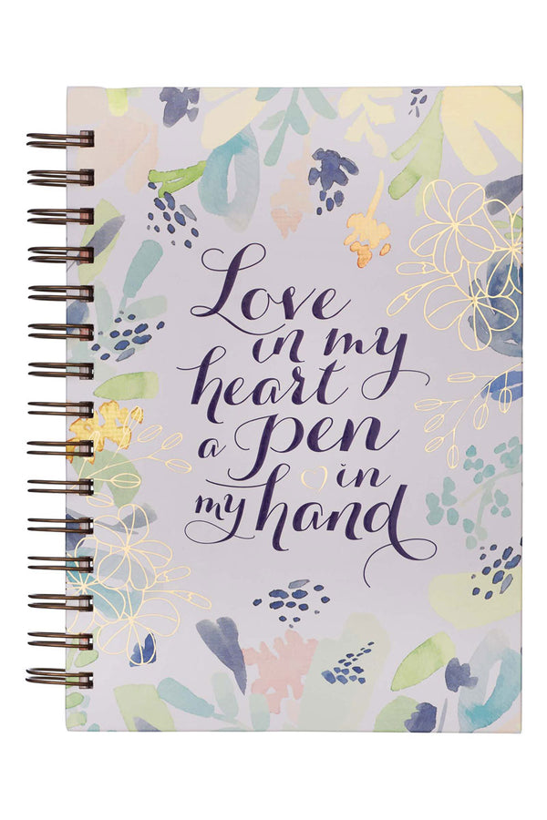 Love In My Heart A Pen In My Hand Large Wirebound Journal