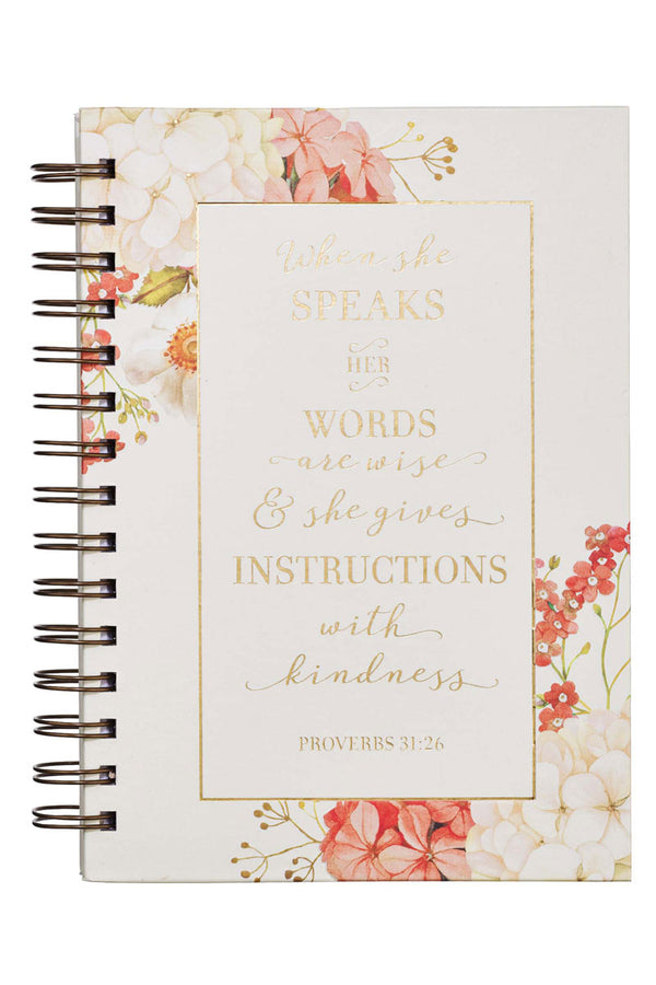 Proverbs 31:26 'When She Speaks' Large Wirebound Journal