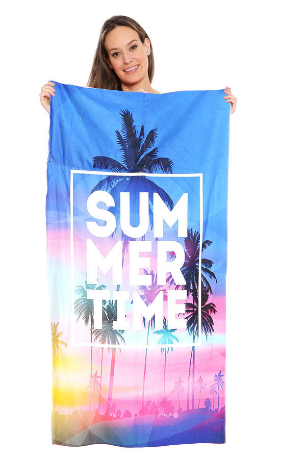Summertime Sunset 2-in-1 Beach Towel and Drawstring Bag