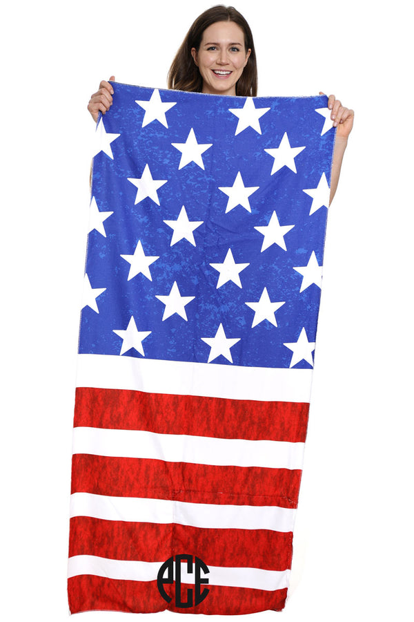 US Flag 2-in-1 Beach Towel and Drawstring Bag