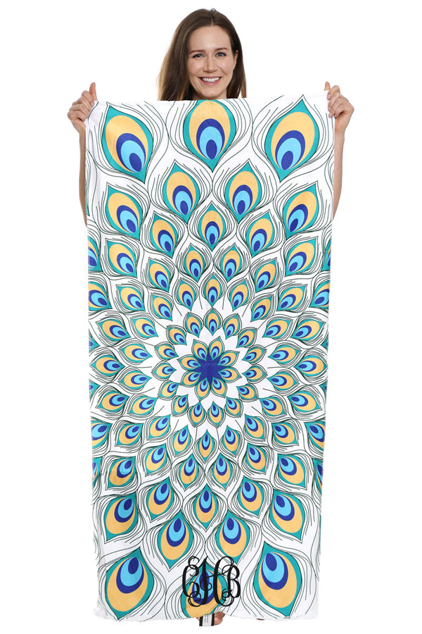 Peacock PIzzazz 2-in-1 Beach Towel and Drawstring Bag