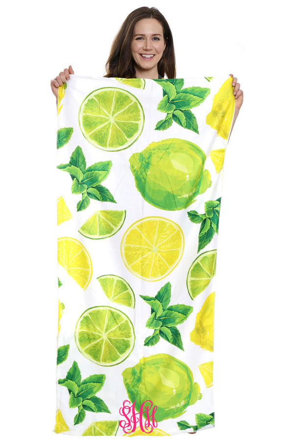 Citrus Fruit 2-in-1 Beach Towel and Drawstring Bag