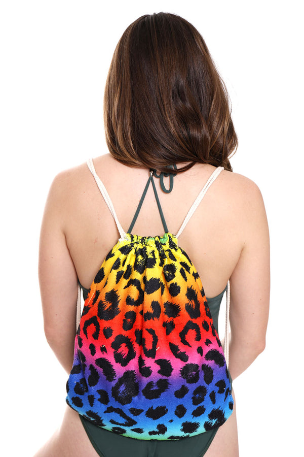 Rainbow Leopard 2-in-1 Beach Towel and Drawstring Bag