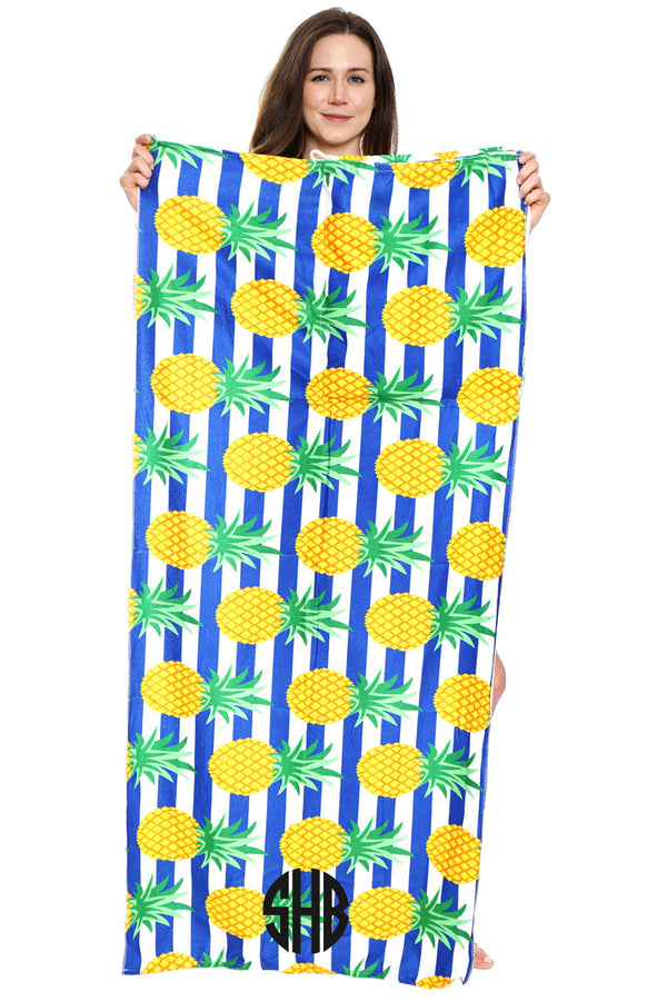Pineapple Stripe 2-in-1 Beach Towel and Drawstring Bag