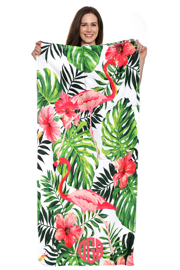 Hawaiian Flamingo 2-in-1 Beach Towel and Drawstring Bag