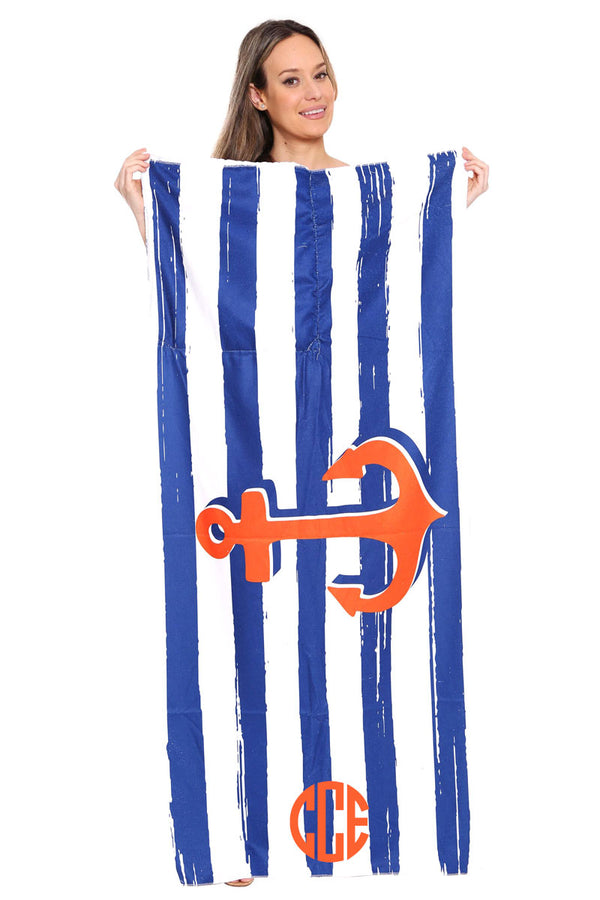 Nautical Stripe Anchor 2-in-1 Beach Towel and Drawstring Bag