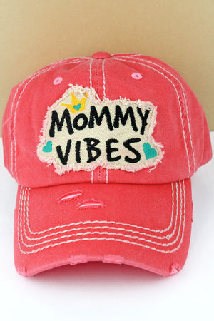 Distressed Salmon 'Mommy Vibes' Cap