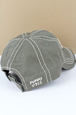 Distressed Steel Gray 'Mommy Vibes' Cap
