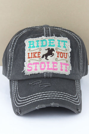 Distressed Black 'Ride It Like You Stole It' Cap