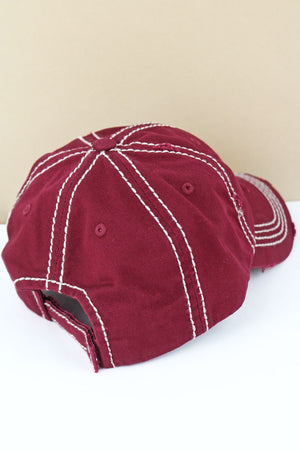 Distressed Maroon Leopard Flag Cap