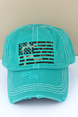 Distressed Turquoise Leopard Flag Cap