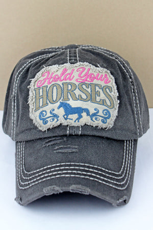 Distressed Black 'Hold Your Horses' Cap