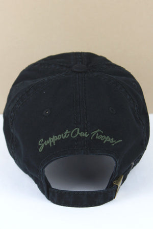 Distressed Black with Green Camouflage Ribbon Cap