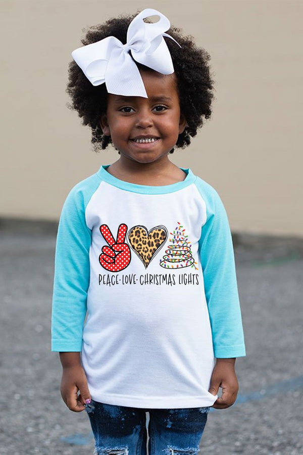 Peace Love Christmas Lights Kid's 3/4 Sleeve Raglan Tee