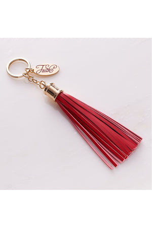 Red Leather Tassel 'Faith' Keyring