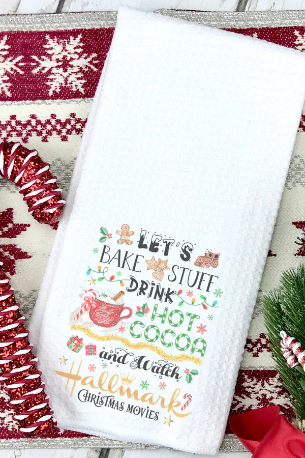 Let's Bake Christmas Hallmark Waffle Kitchen Towel