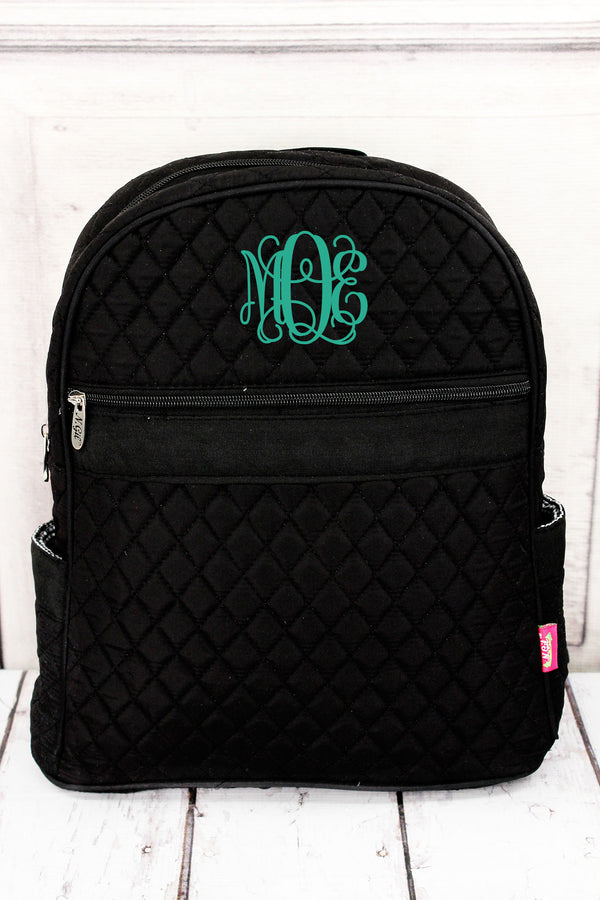 Black Quilted Backpack #LM2828-BLACK