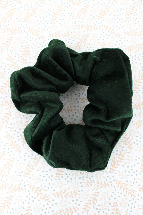 Hunter Green Velour Scrunchie