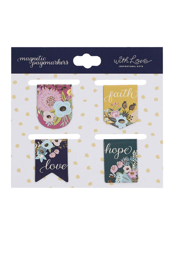 Faith Hope Love 4 Piece Magnetic Page-Marker Set