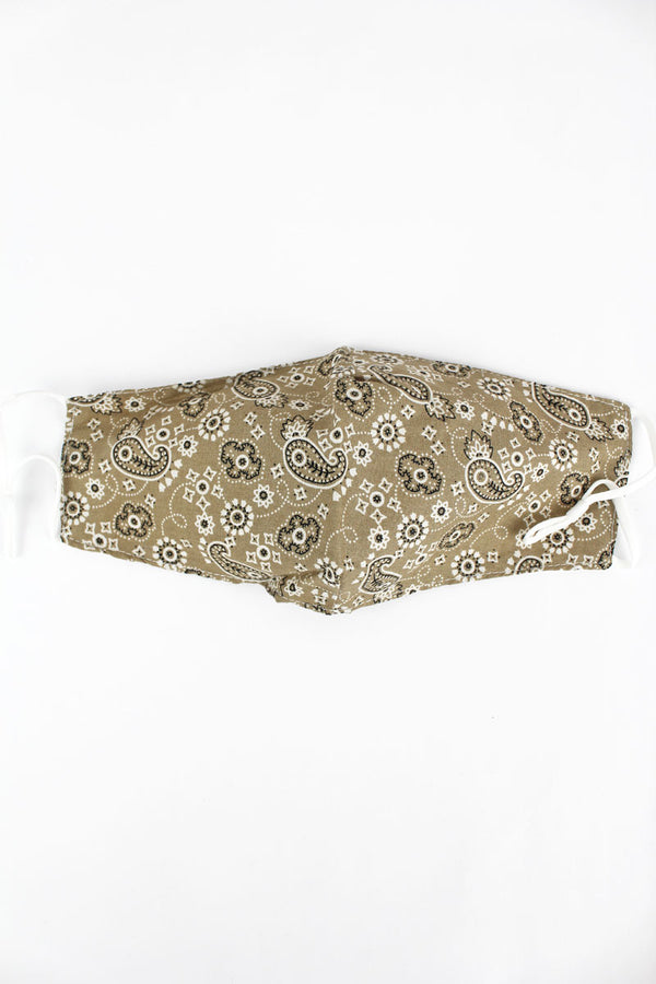 Playful Paisley Khaki Two-Layer Fashion Face Mask