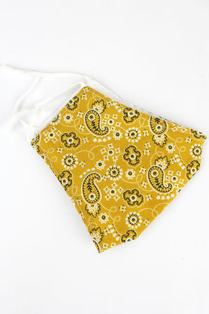 Playful Paisley Yellow Two-Layer Fashion Face Mask
