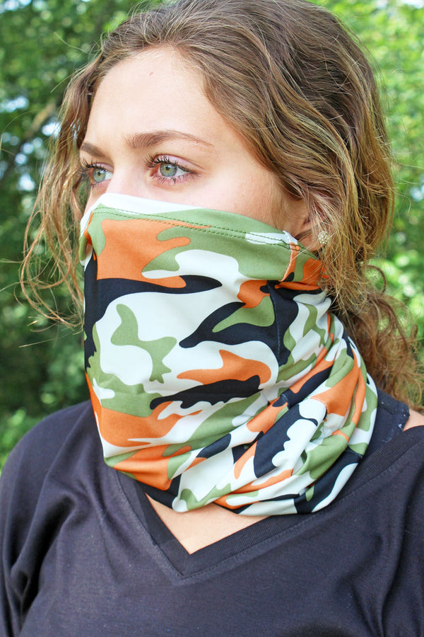 Orange Camo Neck Gaiter