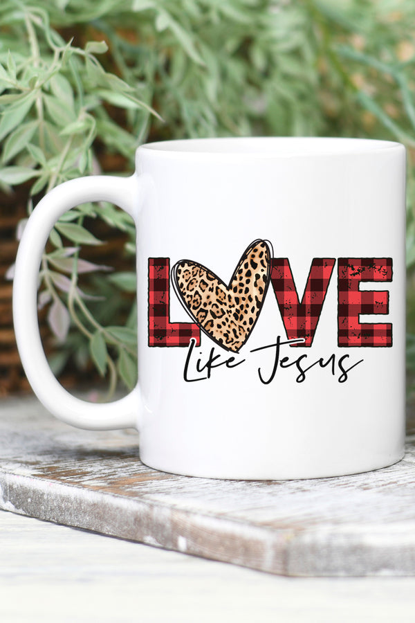 Buffalo Plaid Love Like Jesus White Mug