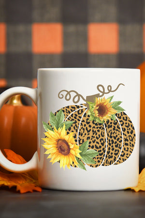 Cheetah Sunflower Pumpkin White Mug