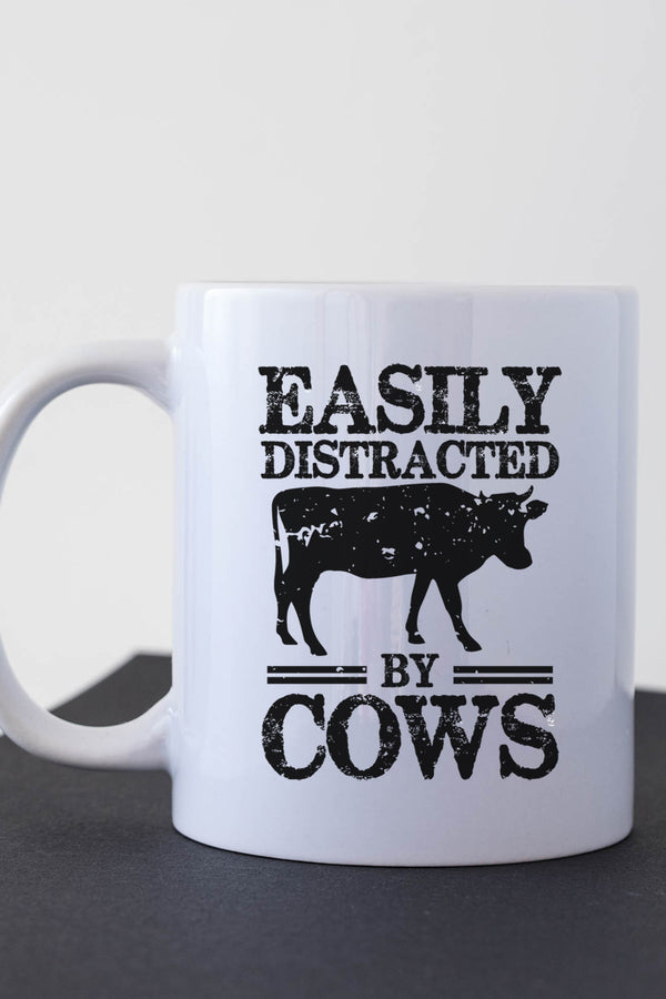Easily Distracted By Cows White Mug