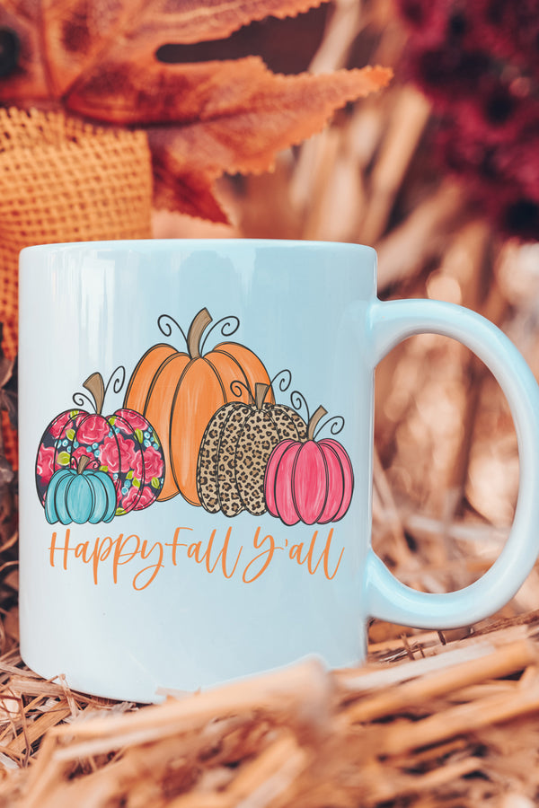 Floral Pumpkin Happy Fall Y'all White Mug