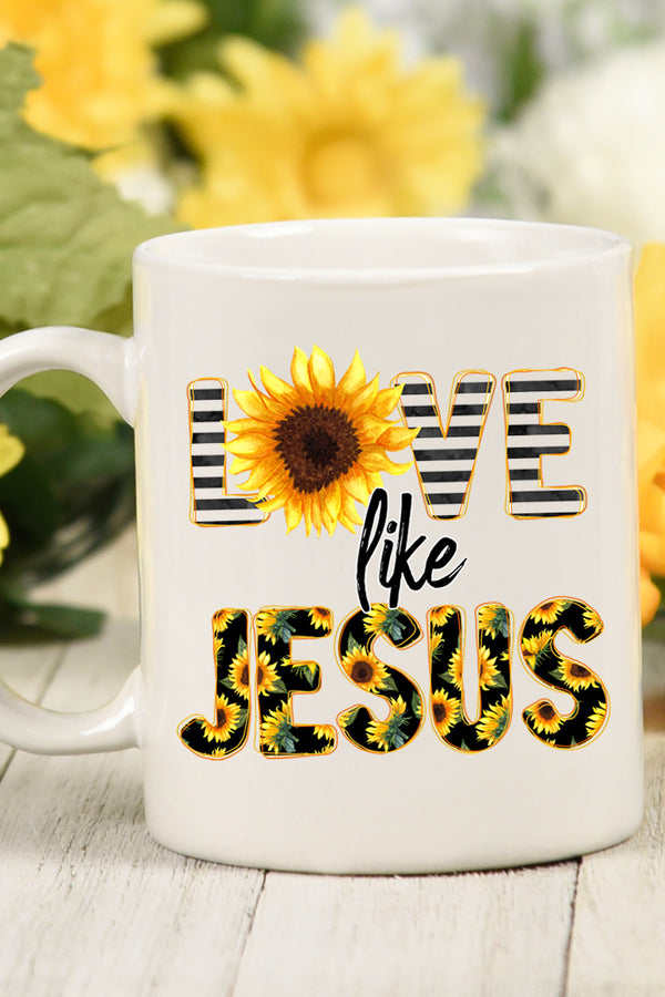 Love Like Jesus Sunflower White Mug