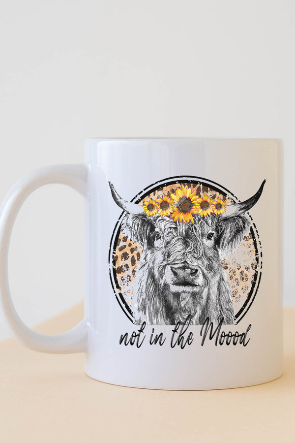 Not In The Moood Sunflower Cow White Mug