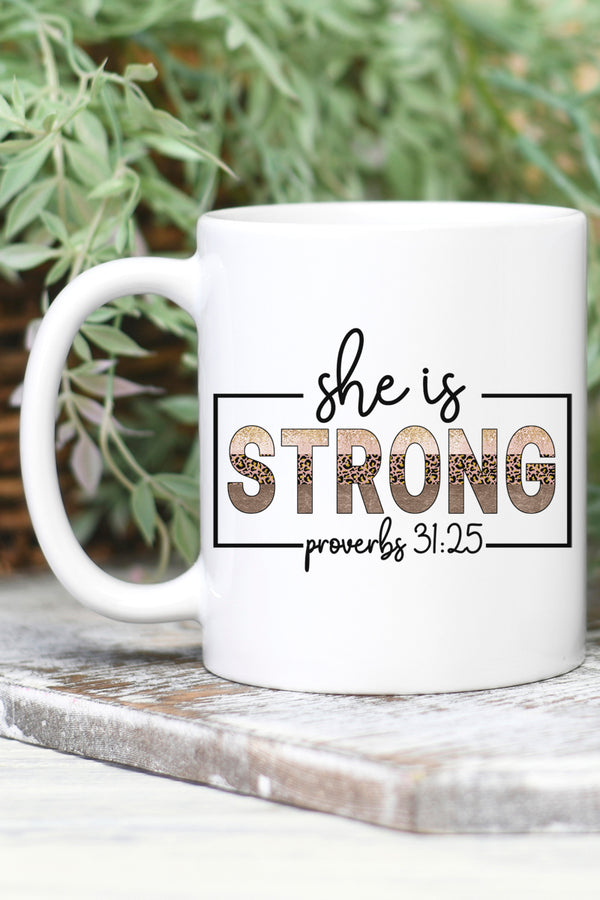 She Is Strong White Mug