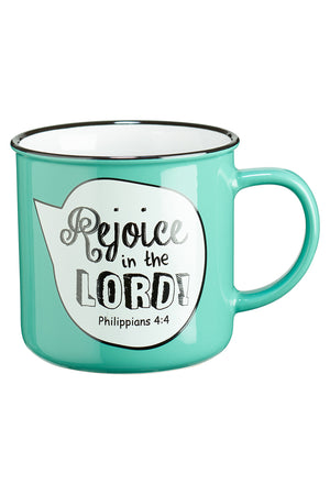 Philippians 4:4 'Rejoice in the Lord' Scripture Bubble Campfire Mug
