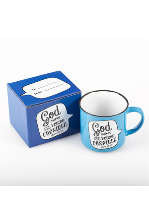 Mark 10:27 'All Things Possible' Scripture Bubble Campfire Mug