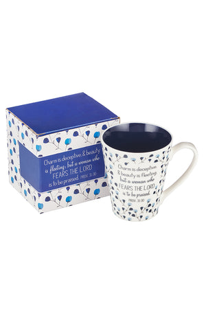 Proverbs 31:30 'Fears The Lord' Floral Mug