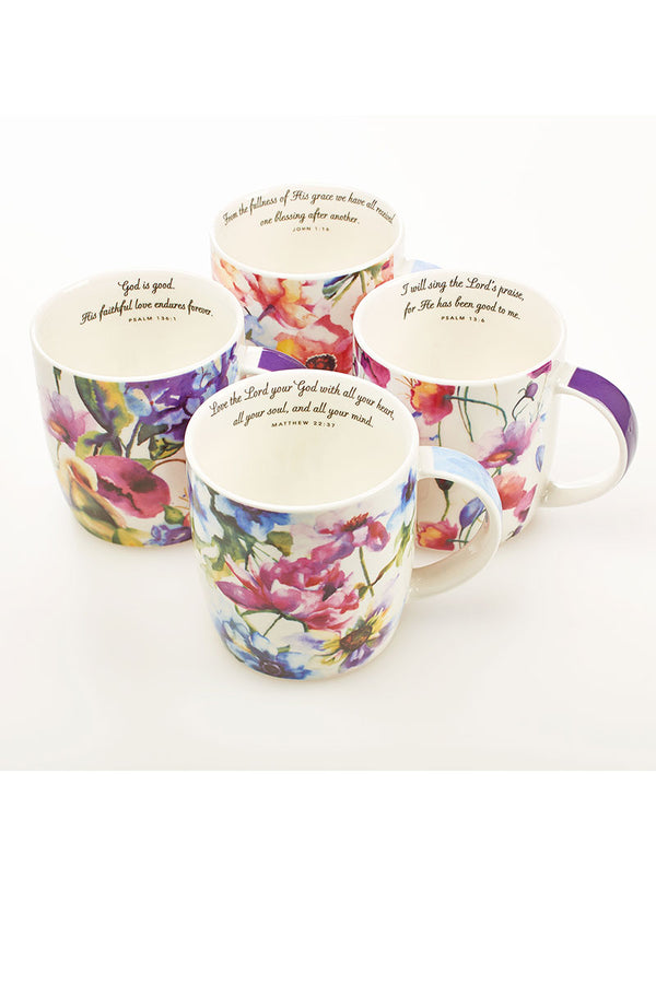 Seeds of Love Floral 4 Piece Mug Set