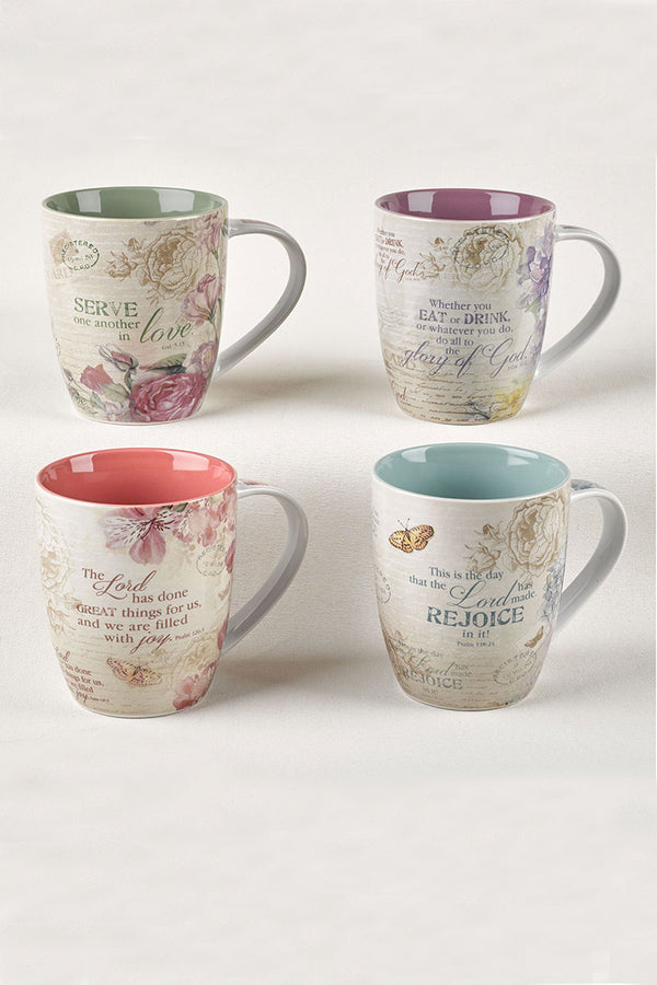 Floral Inspirations 4 Piece Mug Set