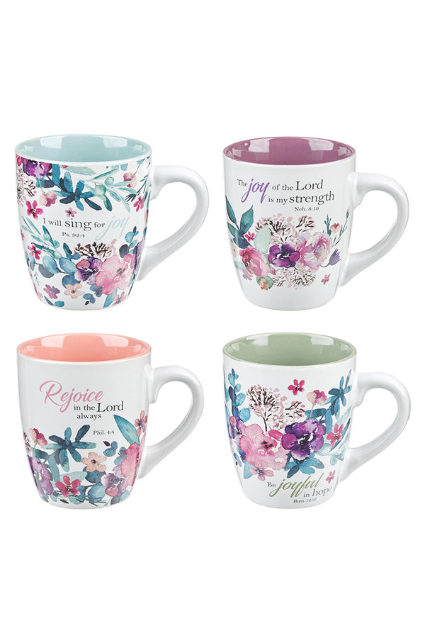 Rejoice Floral 4 Piece Mug Set