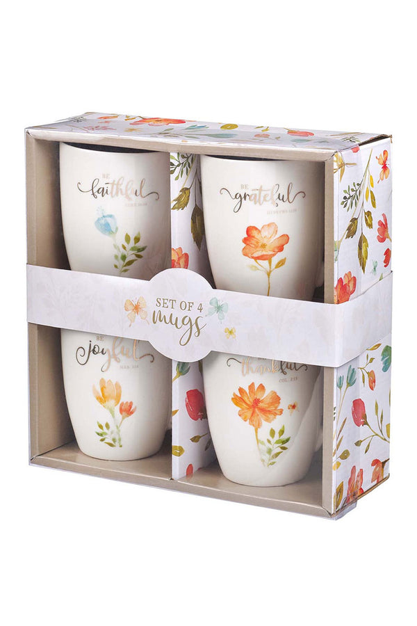 Faithful, Grateful, Joyful, Thankful 4 Piece Mug Set
